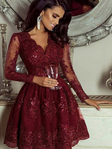 Burgundy Long Sleeve V-Neck Lace Vintage Homecoming Dress Short Prom Dress AN2205|Annapromdress