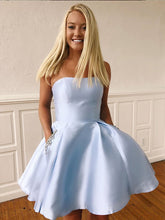 Light Blue Strapless A-Line Cute Homecoming Dresses with Pockets AN2206|Annapromdress