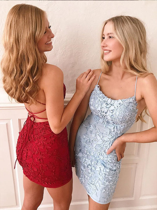 Light Blue Halter Lace Sheath Homecoming Dresses Backless Graduation Dresses AN2207|Annapromdress