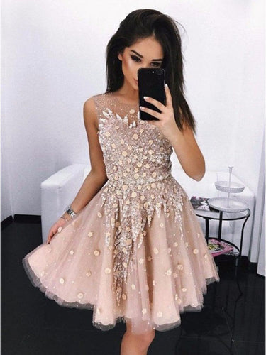 Blush Chic Appliques Tulle A-Line Vintage Homecoming Dress Short Prom Dress AN12302|Annapromdress
