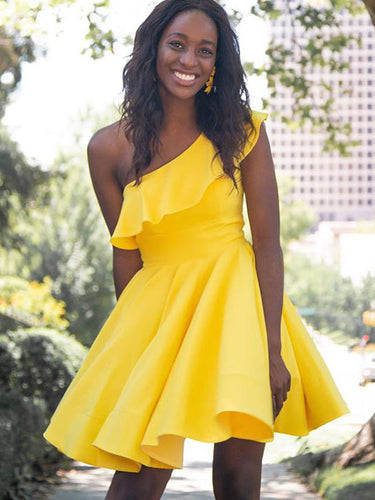 Yellow Satin One Shoulder A-Line Cute Homecoming Dress 2019 Graduation Dress AN311|Annapromdress