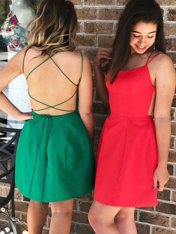 Spaghetti Straps Red Satin Sheath Short Homecoming Dress Backless Graduation Dress AN607|Annapromdress