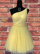 One Shoulder Yellow Chic Tulle Sparkly Homecoming Dress Cute Graduation Dress AN610|Annapromdress