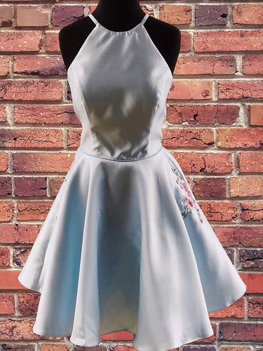 Light Blue Satin Halter Chic Embroidery Cute Homecoming Dress Short Graduation Dress AN620|Annapromdress