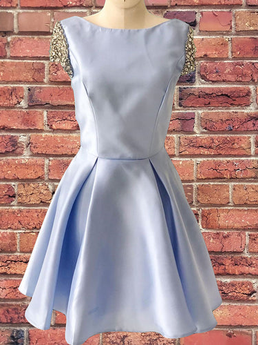 Light Blue Satin Cap Sleeve Beaded A-Line Cute Homecoming Dress AN634|Annapromdress