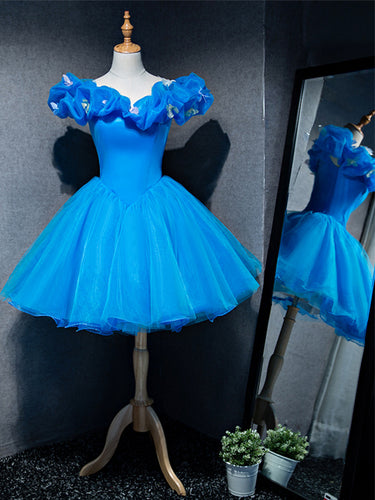 Ball Gown Sweetheart Blue Cute Homecoming Dress with Butterfly Short Prom Party Dresses ATB1812|Annapromdress