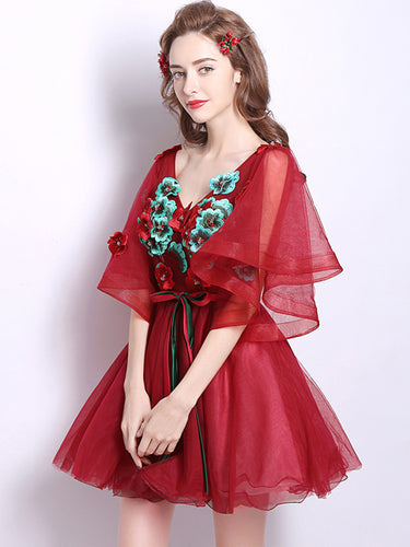 Sexy V Neck Appliques Red Homecoming Dress with Sleeves Tulle Short Prom Party Dress ATB1814|Annapromdress