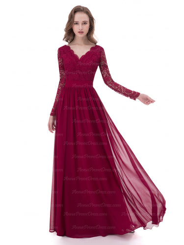 Sexy Prom Dresses V-neck Burgundy Long Lace Prom Dress Chiffon Evening Dress AX001