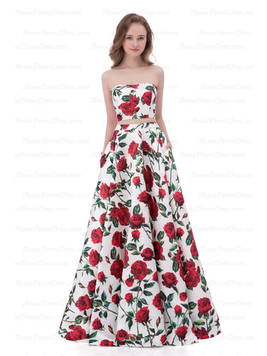 Two Piece Prom Dresses A-line Floor-length Floral Print Sexy Prom Dress Satin AX003