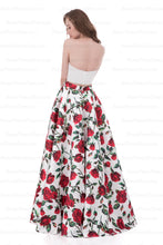 Two Piece Prom Dresses A-line Strapless Floor-length Floral Print Long Prom Dress AX004