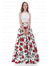 Two Piece Prom Dresses A-line Floral Print Long Cheap Prom Dress Satin Evening Dress AX005
