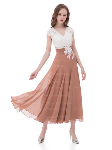 Cheap Prom Dresses A-line Tea-length Floral Print Sexy Prom Dress Chiffon Bridesmaid Dress AX007