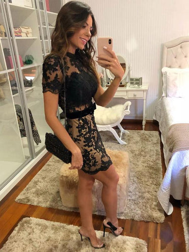 Black Lace Nude Sheath Open Back Short Sleeve Homecoming Dresses AN1207