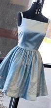 Blue Satin Beading Square Neck Sleeveless Homecoming Dresses AN1203