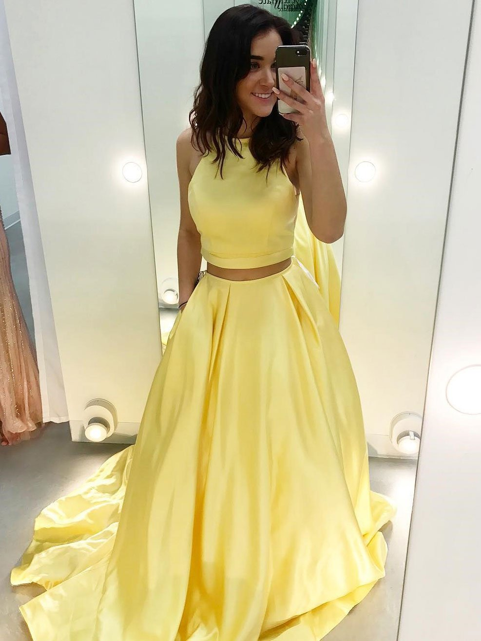 972abece20 Cheap Two Piece Prom Dresses Yellow Satin Formal Long Prom Dress ...