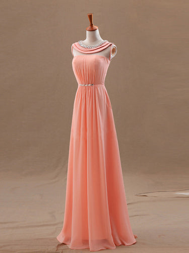 Chiffon Evening Dress A-line Scoop Sleeveless Chiffon Prom Dresses With Beaded #FK947