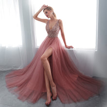 Modest Tulle Beaded V Neck Prom Dress A Line Floor Length Prom Evening Dress with Slit YSR1112