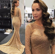 Sparkly Sequin Prom Dresses Long Sleeve O-Neck Mermaid Prom/Evening Dress with Sweep Train YSR1113|Annapromdress