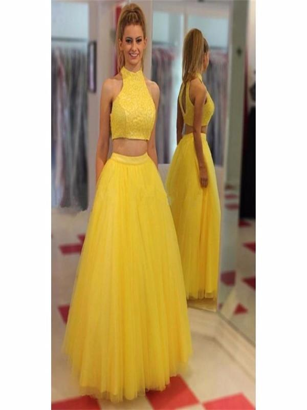 High Neck Prom Dresses,Yellow Prom Dresses,Two Pieces Prom Dress ...