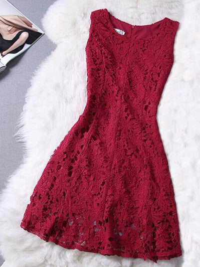 2017 Homecoming Dress Sexy Red Lace Short Prom Dress Party Dress JK017