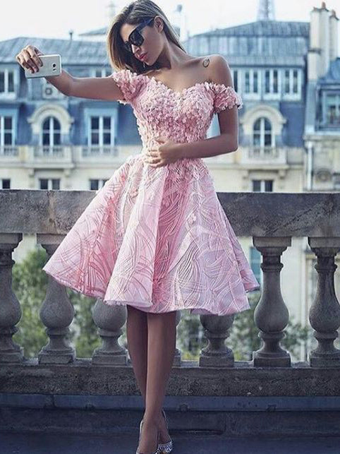 Fashion Sexy Homecoming Dress Pink Off-the-shoulder Short Prom Dress Party Dress JK020
