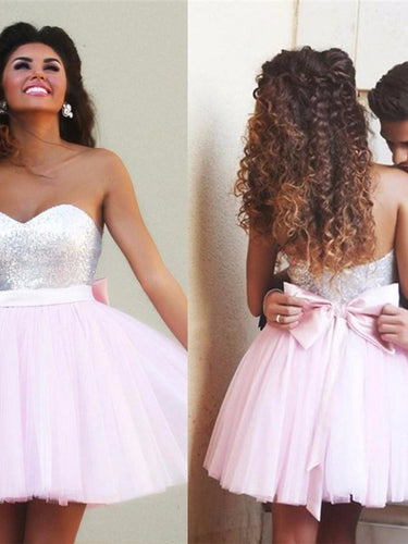 Chic Homecoming Dress Sweetheart Sequins Pink Short Prom Dress Party Dress JK024