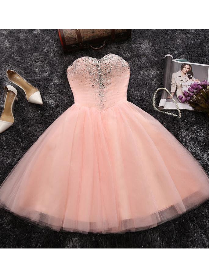 2017 Homecoming Dress Cheap Tulle Sequins Short Prom Dress Party Dress JK034