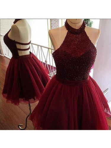 2017 Homecoming Dress Sexy Halter Burgundy Short Prom Dress Party Dress JK041