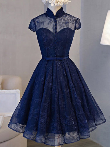 High Neck Homecoming Dress Lace Dark Navy Lace-up Short Prom Dress Party Dress JK042