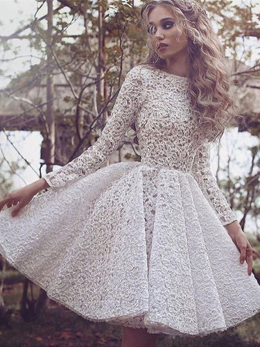 Lace Chic Homecoming Dress Scoop Long Sleeve Ivory Short Prom Dress Party Dress JK043