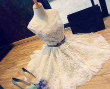 Sexy Homecoming Dress Scoop Lace Ivory Tulle Bowknot Short Prom Dress Party Dress JK044