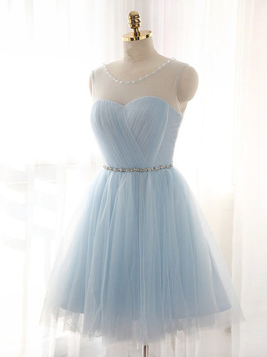 2017 Homecoming Dress Lace-up Light Sky Blue Short Prom Dress Party Dress JK048