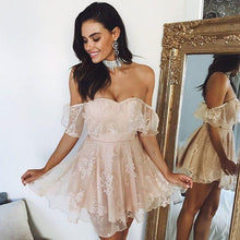 Homecoming Dress Off-the-shoulder Pearl Pink Short Prom Dress Party Dress JK052|Annapromdress