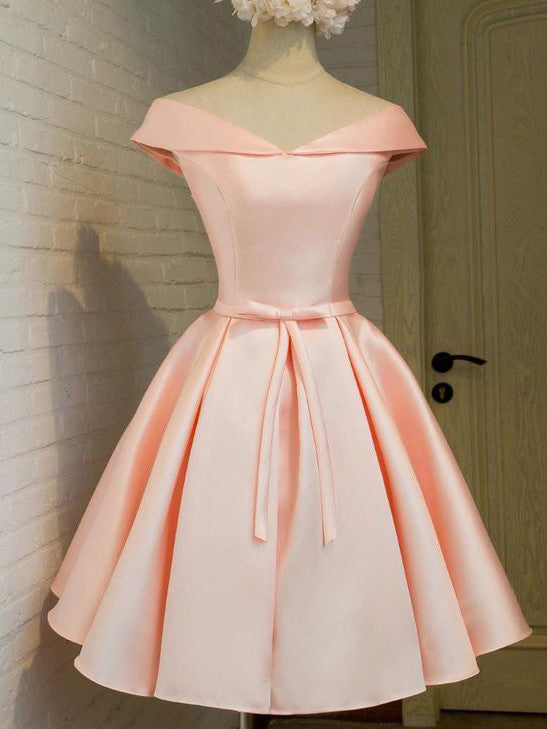 2017 Homecoming Dress Lace-up Pink Bowknot Short Prom Dress Party ...