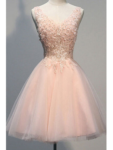 2017 Homecoming Dress Tulle Lace Short Prom Dress Party Dress Pearl Pink JK057