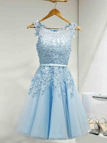 2017 Homecoming Dress Light Sky Blue Appliques Short Prom Dress Party Dress JK065