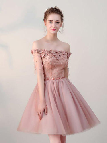 Chic Homecoming Dress Off-the-shoulder Beading Tulle Lace Short Prom Dress Party Dress JK068
