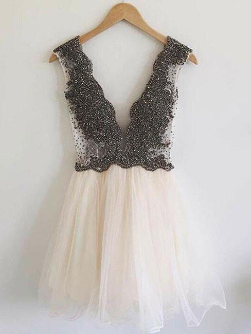 2017 Homecoming Dress Tulle Black Beading Short Prom Dress Party Dress JK074