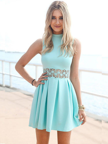 2017 Homecoming Dress Sage High Neck Short Prom Dress Party Dress JK080
