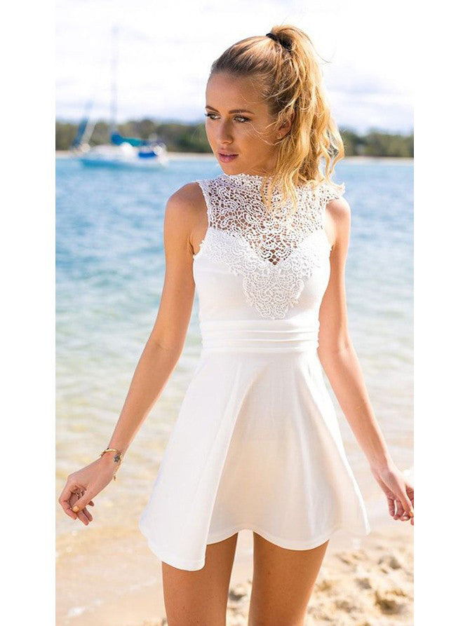 2017 Homecoming Dress White Lace Bowknot Short Prom Dress Party ...