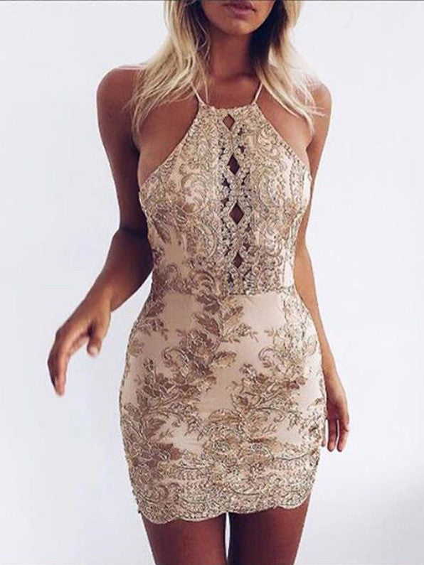 2017 Homecoming Dress Halter Lace Sheath Short Prom Dress Party Dress JK082