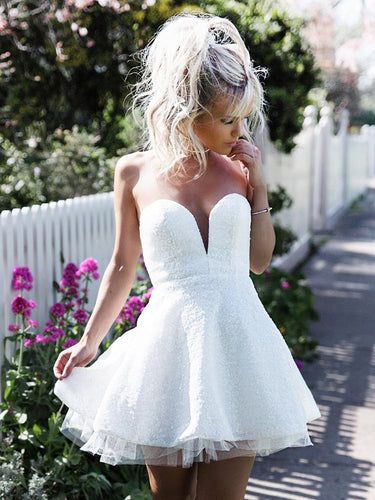 2017 Homecoming Dress Sweetheart White Short Prom Dress Party Dress JK083