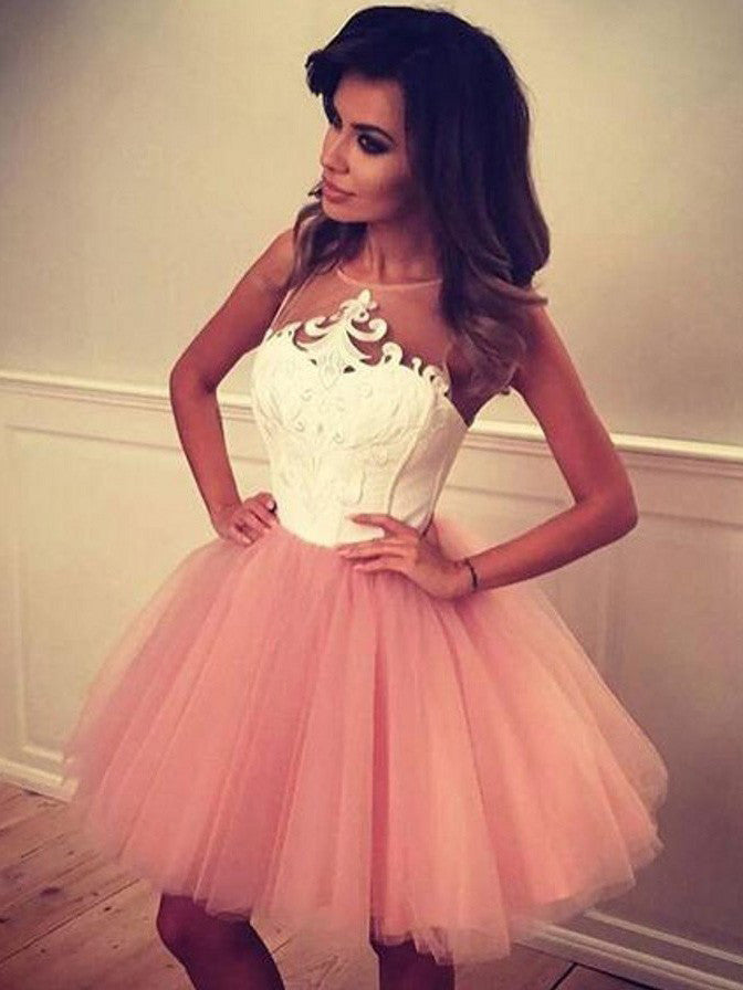 2017 Homecoming Dress Pink Appliques Short Prom Dress Party Dress JK093
