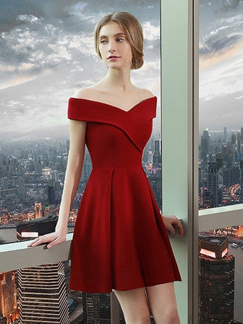 2017 Homecoming Dress Off-the-shoulder Red Short Prom Dress Party Dress JK095