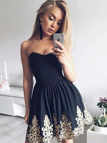 2017 Homecoming Dress Appliques Strapless Short Prom Dress Party Dress JK100|Annapromdress