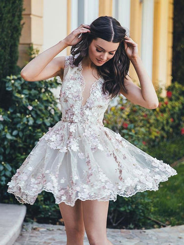 2017 Homecoming Dress Tulle A-line V-neck Short Prom Dress Party Dress JK101
