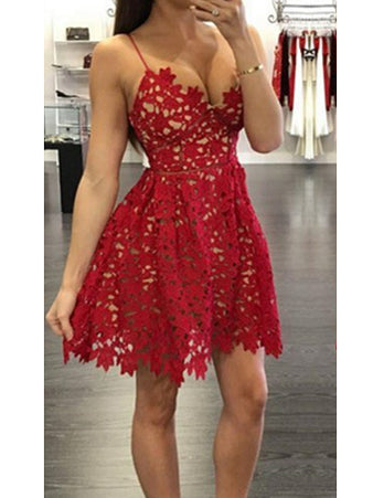 2017 Homecoming Dress Spaghetti Straps Lace Short Prom Dress Party Dress JK103