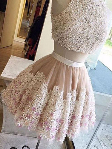 2017 Homecoming Dress Scoop Hand-Made Flower Short Prom Dress Party Dress JK107
