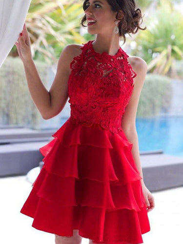 2017 Homecoming Dress Red Lace Flouncing Short Prom Dress Party Dress JK109