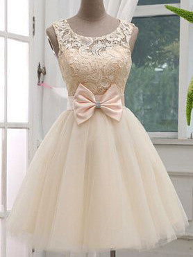 2017 Homecoming Dress Bowknot Lace Short Prom Dress Party Dress JK113